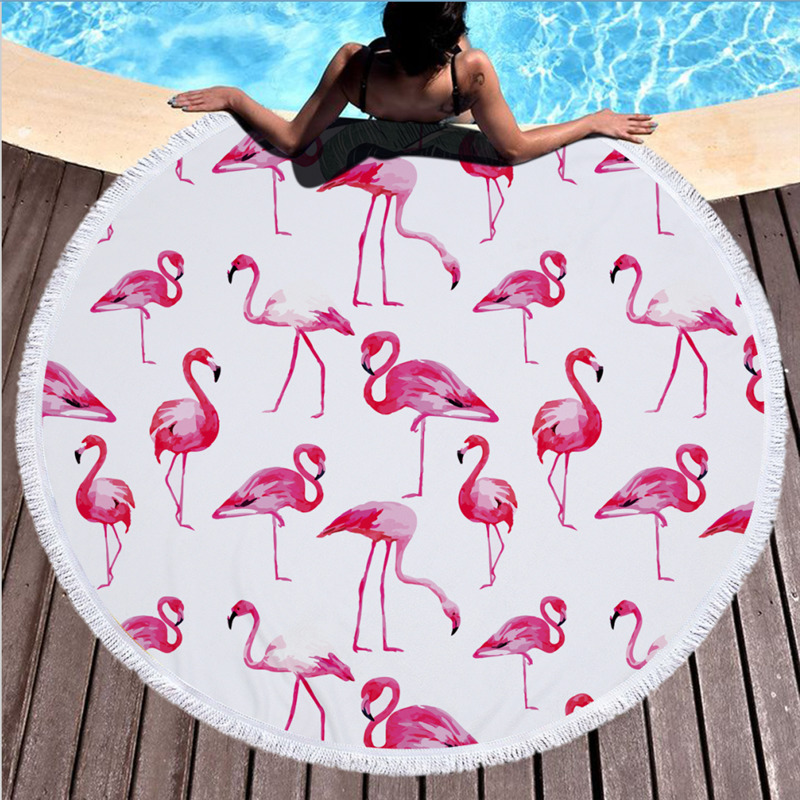 Printed Large Round Beach Towel for Adult Yoga Mats Leaves Microfiber with Tassels