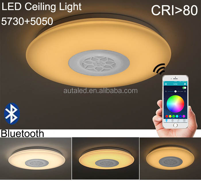 Bluetooth Control LED Ceiling Light RGB+W Multi Color High CRI High Brightness Dimmable Music Smart Ceiling Light