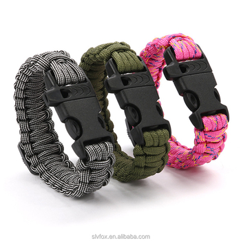 Whole Mutifunction Camping Survival Paracord Comp Whistle Bracelet With Release Buckle Logo
