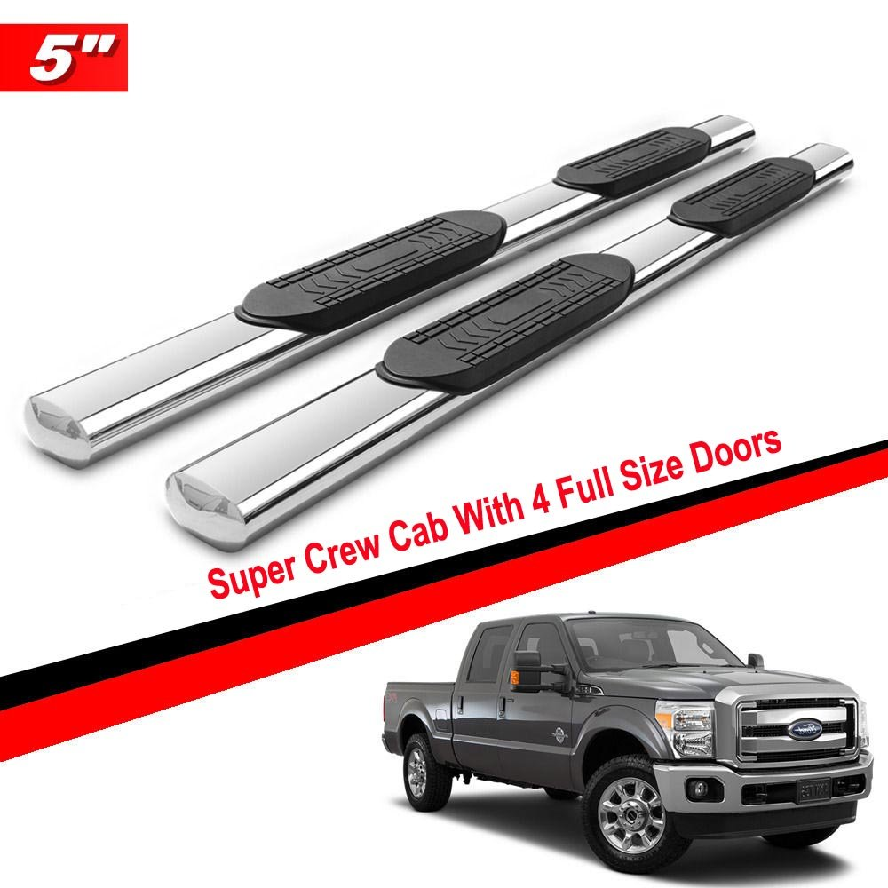 """Gldifa 5"""" Oval Running Boards For 1999-2016 Ford F250/F350/F450 Superduty Super Crew Cab With 4 Full Size Doors S/S Side Step Nerf Bar"""