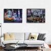 Led wall painting picture New york night motel car night canvas art light up printing artwork for living room home decorative