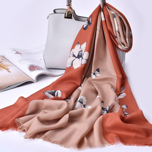 Fashionable 100g printed shawl nice different pattern printing soft pure wool shalws pashmina scarf