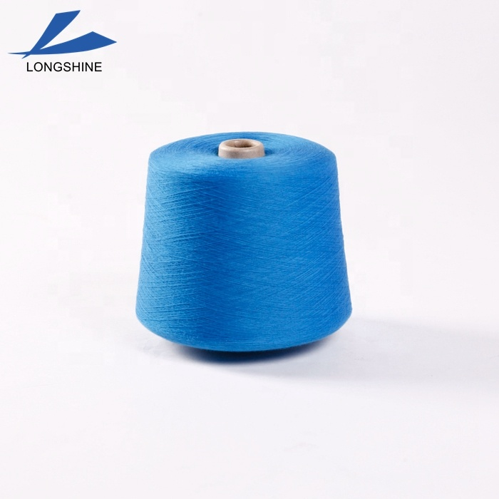 Low Price 30/1 Colored Dope Dyed Recycled Polyester Spun Yarn for knitting and weaving