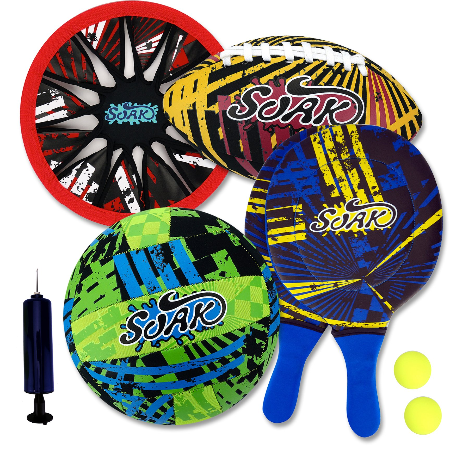 Beach Game Combo Set - Radiate Series - Beach Paddle, Frisbee, Football, Volleyball - 8 Pc Set