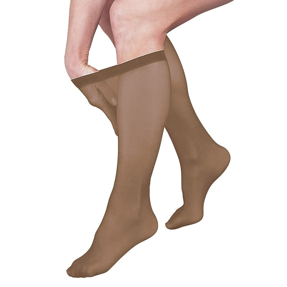 483052238c Get Quotations · Women's Firm Support Sheer Knee Highs Compression Stockings  - Taupe - Medium