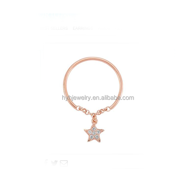 New style 925 sterling silver charm drop rings minialis tiny star zircon chain ring hand ring