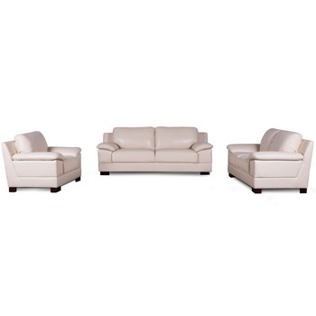 Italy Imported Italian Modern Vintage White Leather Sofa