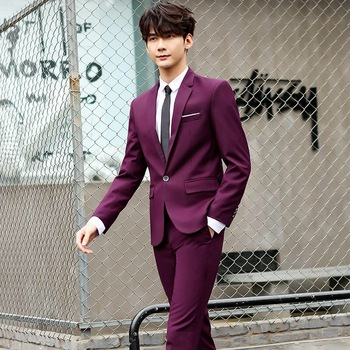 Mens Suits 3 Pieces Slim Fit Wedding Formal Dinner Black Navy Wine Red One Button Lapel Tuxedo Blazer Jacket
