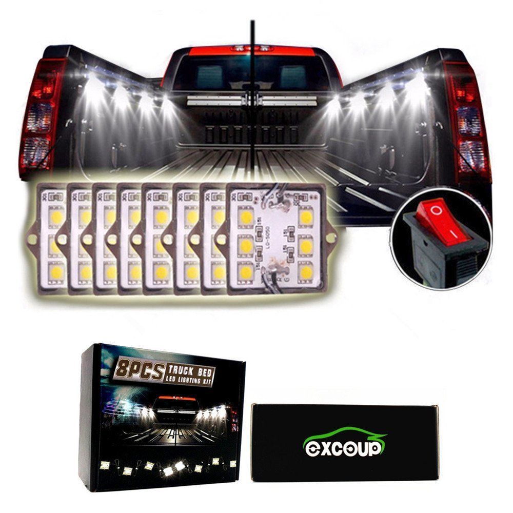 LED Lights for Truck Bed led Lighting Kit with 48 Super Bright SMD LEDs Cargo Pickup Bed Light Waterproof for RV Boat - 8PC Upgraded Version