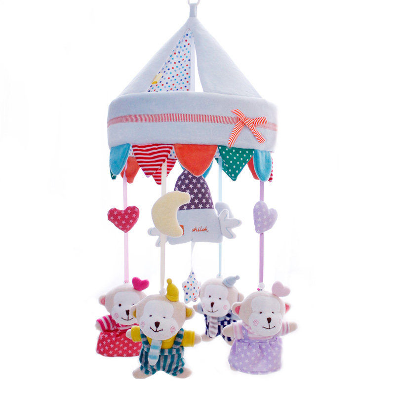 pull string musical baby bed plush toys