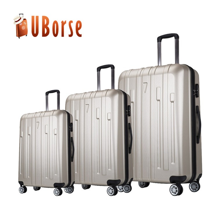 Hard case travel luggage bags carry on trolley luggage 3 piece pc abs luggage sets