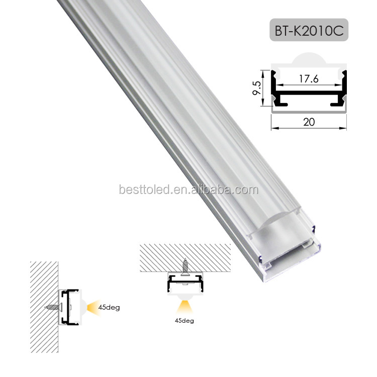 High quality 45 degree beam angle led strip light aluminum channel with Optic Lens