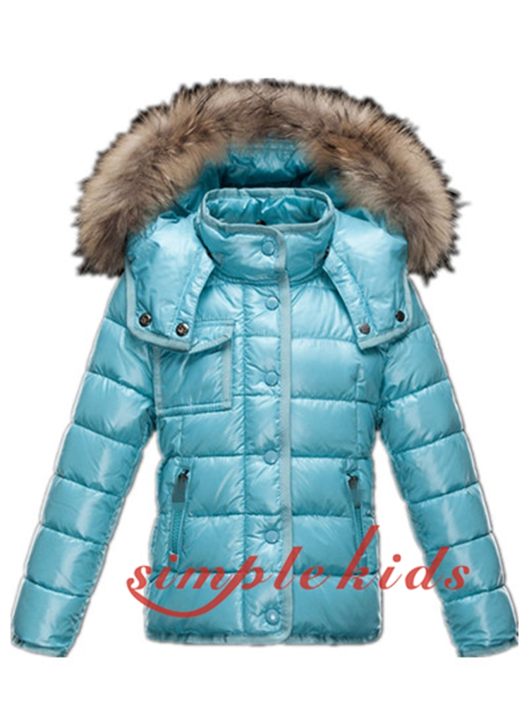 2015 children's clothing baby down coat female child short design raccoon large fur collar hot-selling child