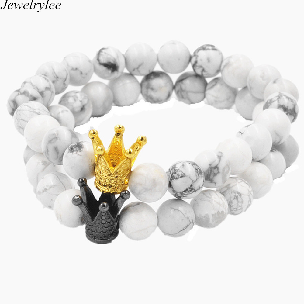 New Brand Trendy Imperial Crown Charm Bracelets Men Natural Agate Stone Beads For Women Men Couples Jewelry