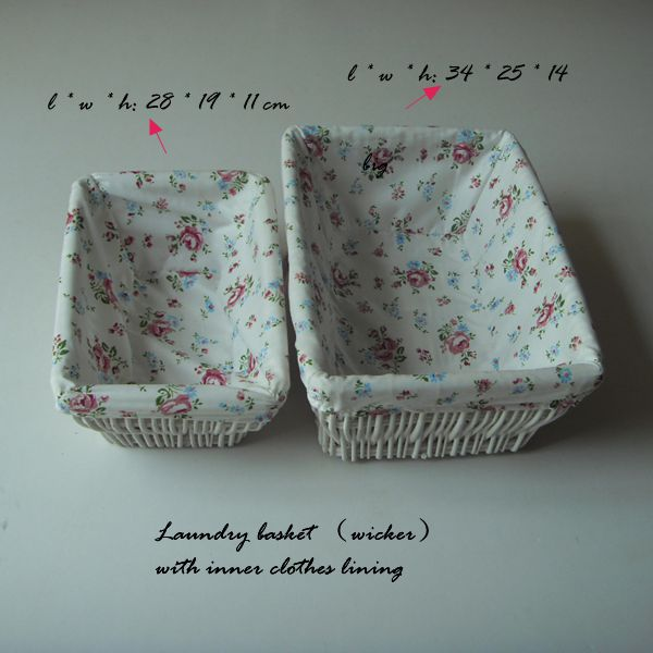 Laundry wicker baket with inner clothes lining