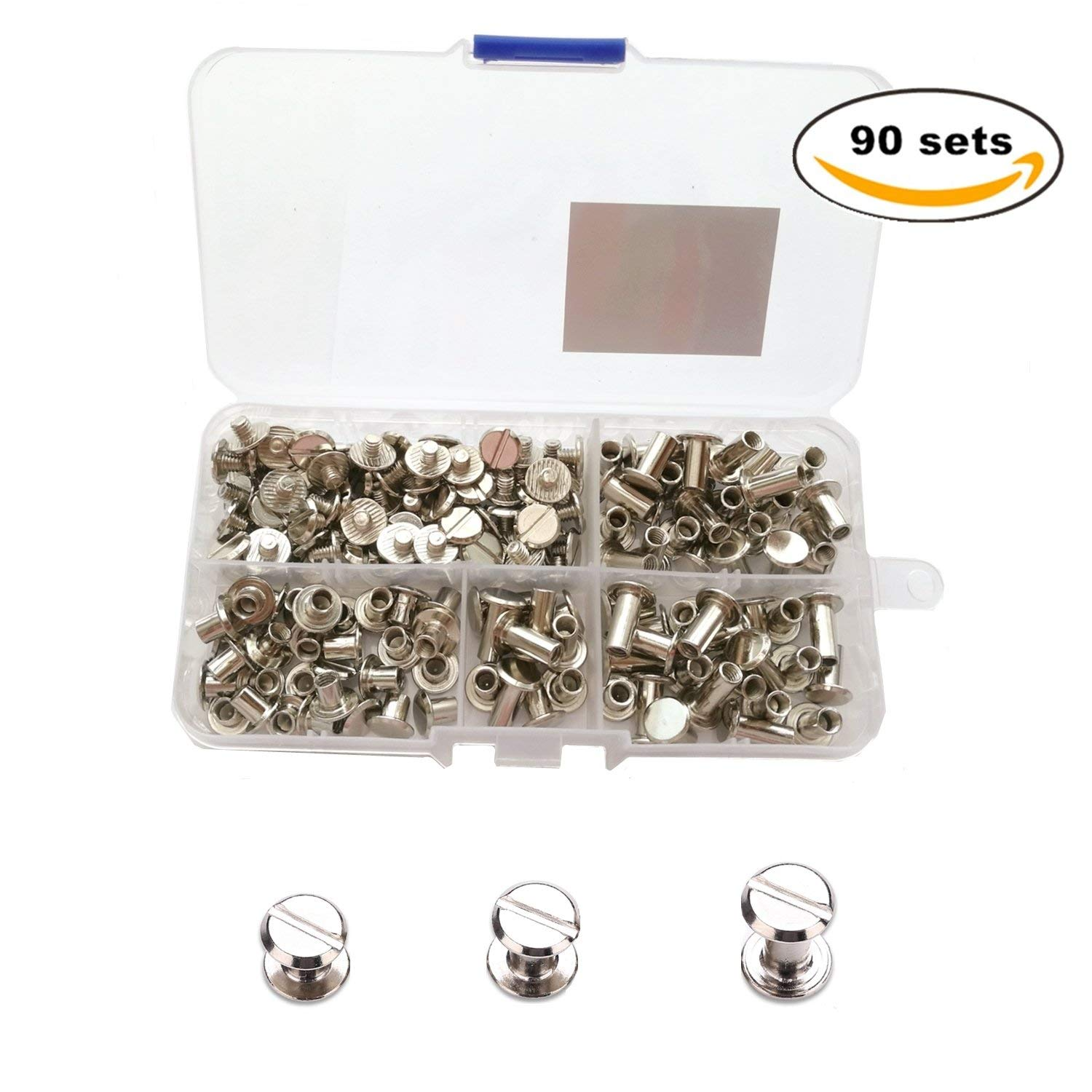 YMAISS 90 Sets Chicago Screws 3 size 1/4,3/8,1/2in Screw Posts Bookbinding Posts Binding Screw Chicago Button Post Rivets Screw Belt screws Leather Photo Albums Screw Round Flat Head, Silver Color