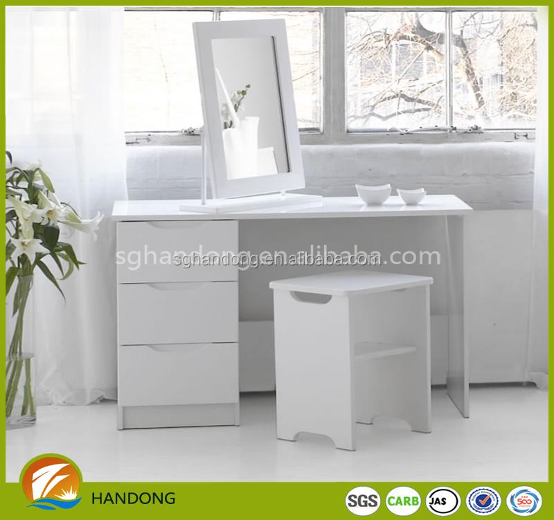 Moderno Elegante Blanco Espejo Vanidad Dresser Diseño Con Heces ...