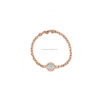Ladies light rose gold full finger chain rings small cz diamond singer stone ring jewelry gifts