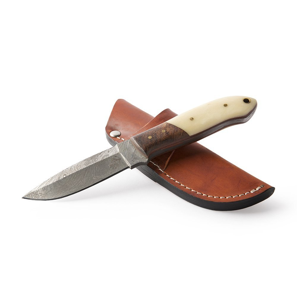 "Knives Ranch Damascus Steel Knives 8"" Double Bevel Fixed Blade with Indian Rosewood Bolster and Bone Handle Includes Side Mount Leather Cowboy Sheath"