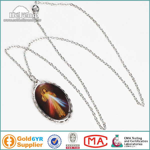 Catholic Divine Mercy Jesus Necklace Oval Shaped Pendant