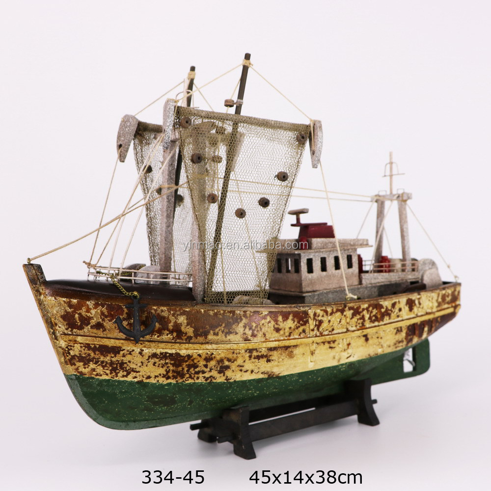 Antique Green <strong>wooden</strong> fishing boat model, 45X14X38cm, New authentic weathered appearance ship model