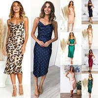 2019 New Arrival Women Sexy Dress Deep V Neck Wave Point Leopard Sling Long Dress Newest