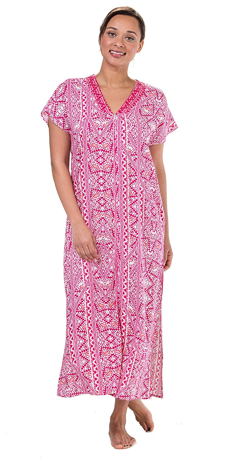 f00e13057e Get Quotations · Miss Elaine Short Sleeve Zip Front Long 100% Rayon Robes  In Pink Mosaic