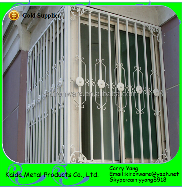 Simple Wrought Iron Sliding Window Grill Design