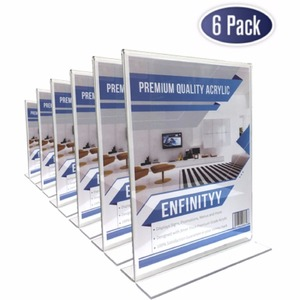 Quality Clear Outdoor T shaped Double Sided Ad Frame Photo Menu Display Stand A4 Acrylic Sign Brochure Holder Floor Stand