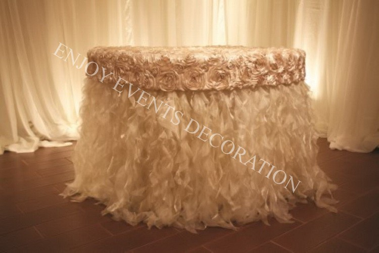 Yhk#87 Fancy Rosette Curly Table Skirt - Polyester Banquet Wedding ...