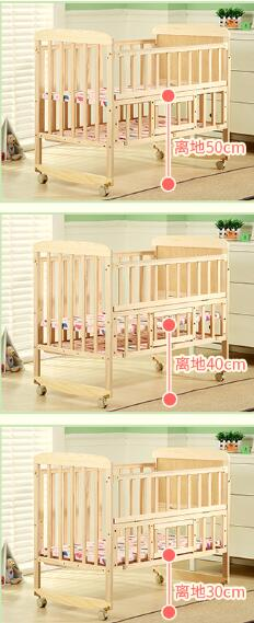 The multifunctional pine baby bed Folding adjustable wooden baby crib
