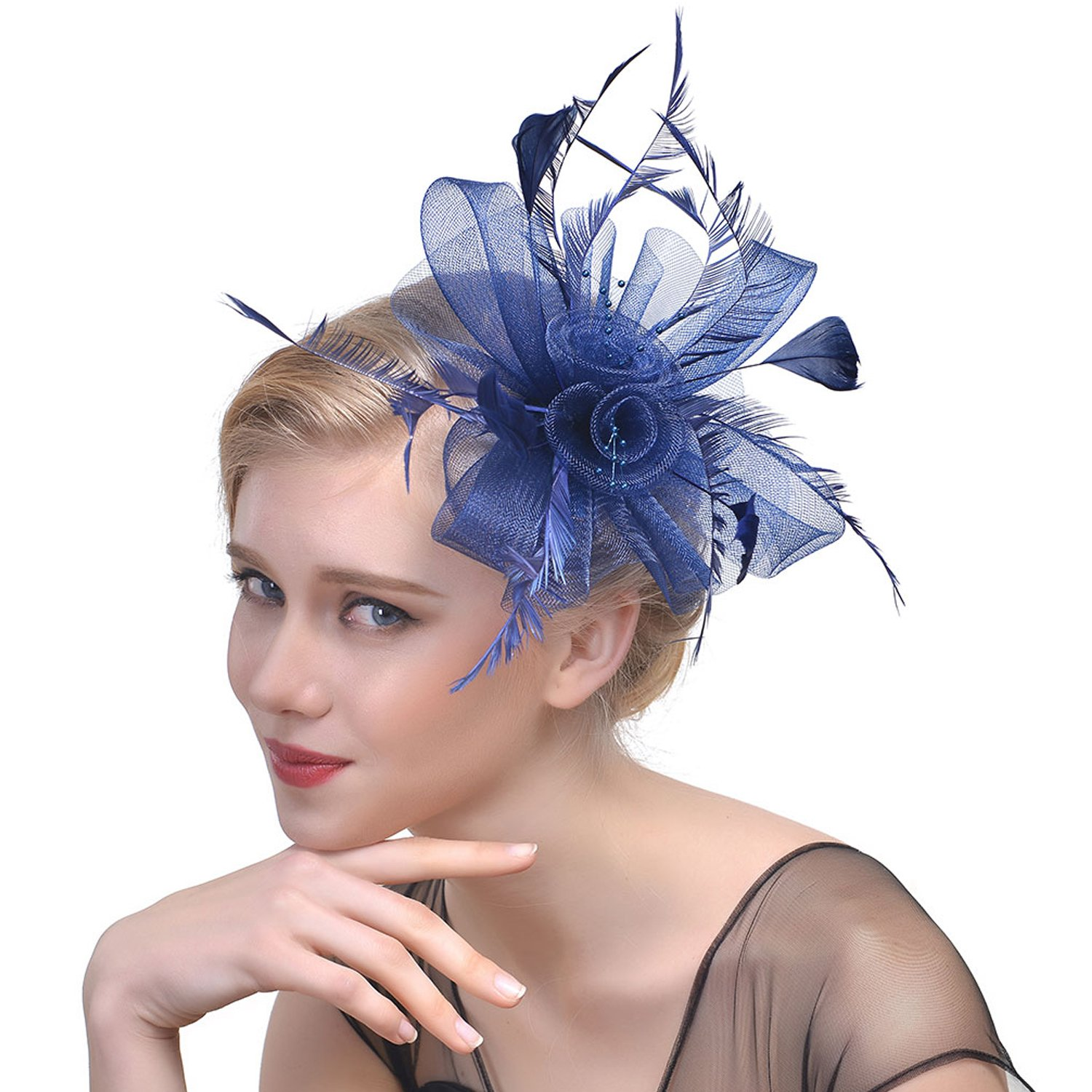 Mwfus Women Handmade Flower Mesh Veils Fascinator Clip Hat Wedding Cocktail Party Headpiece