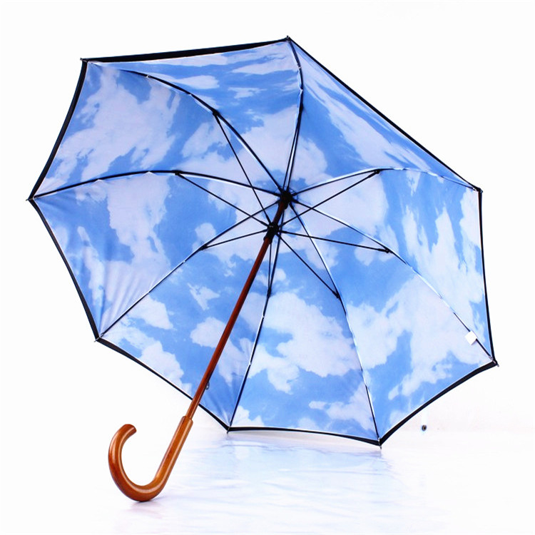 High Quality New Blue Sky White Cloud Double Layer Parasol