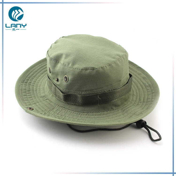 Custom polyester cotton men sports wide brim embroidery military boonie  bucket hat e34b9399c54