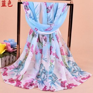 Printed Pattern And Chiffon Style Of Indian Scarf Silk Like