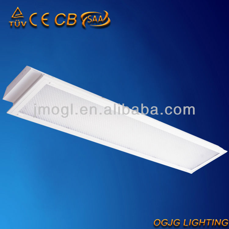 2x36w recessed T8 grille light fitting with acrylic PS diffuser,CE ROHS CCC