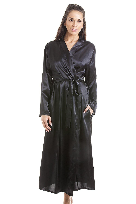 Get Quotations · Camille Womens Black Luxury Satin Dressing Gown b41de400c