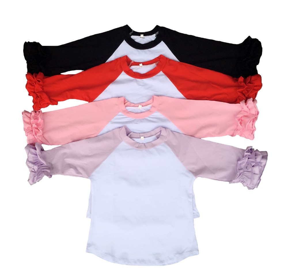 7a1968aa22 Wholesale girls ruffle raglan shirt baby infant hot sale christmas boutique  icing raglan tops kids clothes