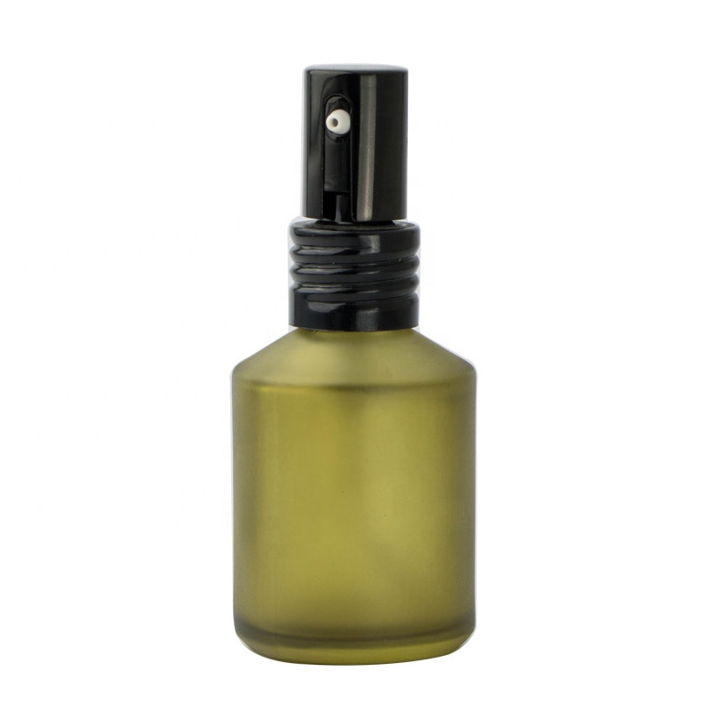 50ml 100ml Free samples luxury frosted <strong>olive</strong> green glass mist spray bottle with <strong>black</strong> aluminum cap