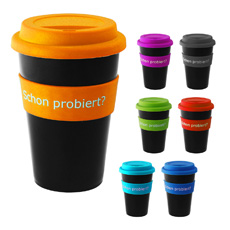 Top sales advertising logo printed 16 oz double wall coffee cup silicone non-slip grip PP plastic twist-on lid camping mug