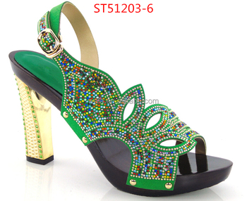 da728c2667f sandals for party ST51203-6 green beige colorful rhinestone sexy shoes peep  top shoes bride