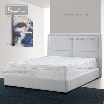 Baotian Modern High Back Elegant Bed Frame White Leather Bed - Buy ...