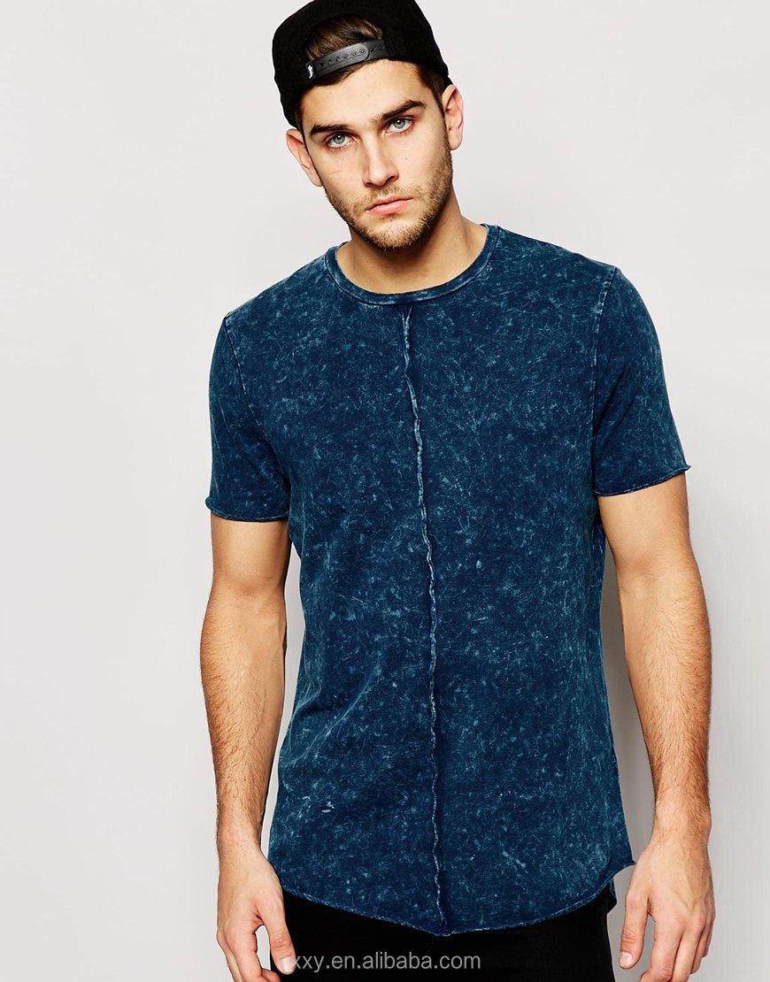 Custom Longline T Shirt Men Acid Wash T-shirts Fashion 100% Plain ...
