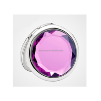 Fashion Foldable Mini Pocket Crystal Makeup Compact Mirror With Logo
