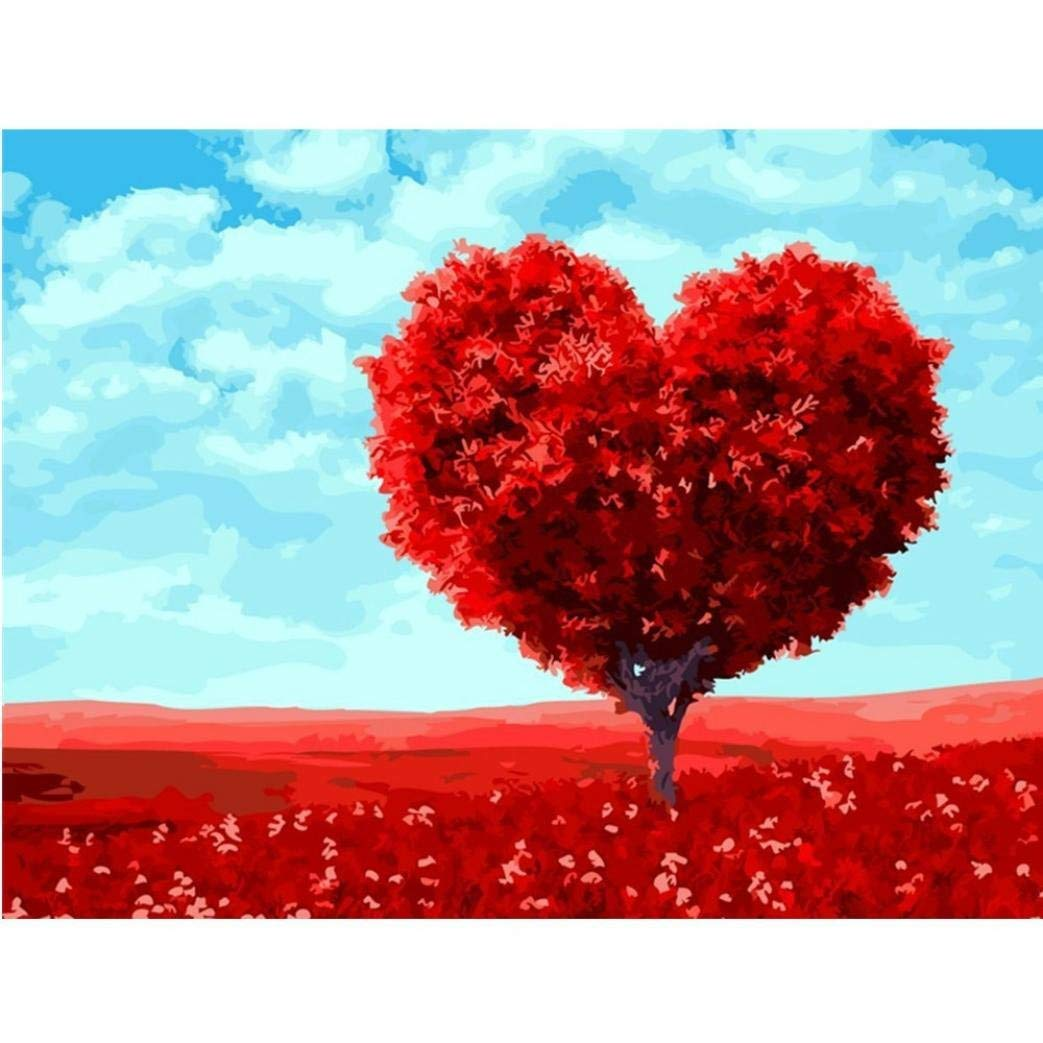 Full Drill, Red Heart Tree, Franterd 5D DIY Diamond Painting Kits By Number Home Decor Counted Cross Stitch Rhinestone Embroidery Arts Craft Decor