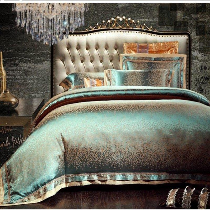 luxury jacquard silk quilt duvet comforter cover king queen size 4pcs green satin bedding set. Black Bedroom Furniture Sets. Home Design Ideas