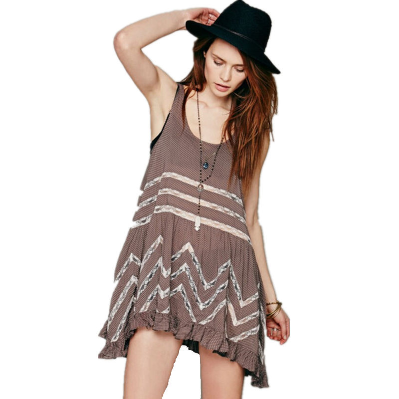 d7c2ca8b8a8 New Polka Dot Lace Tank Loose Dress Female Sexy Hollow Out Sleeveless Beach  Sundresses Casual Cute