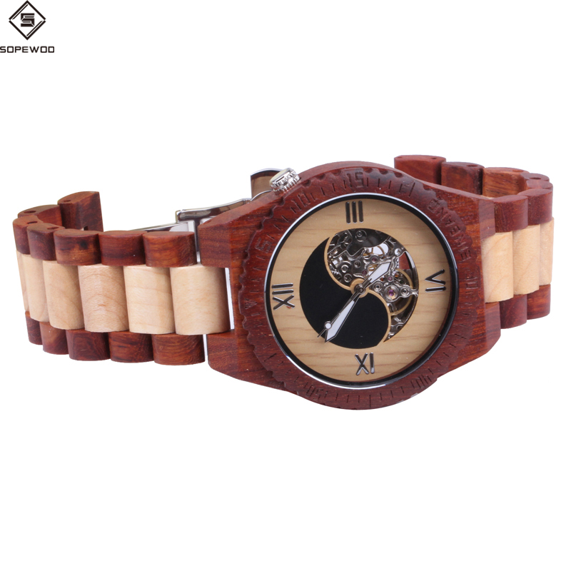 Mens elegant natural wood watch high quality classic automatic mechanical wood colours watches