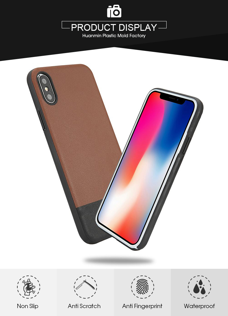Rugged Protective Slim PU Simple Mobile Phone Case For iPhone X