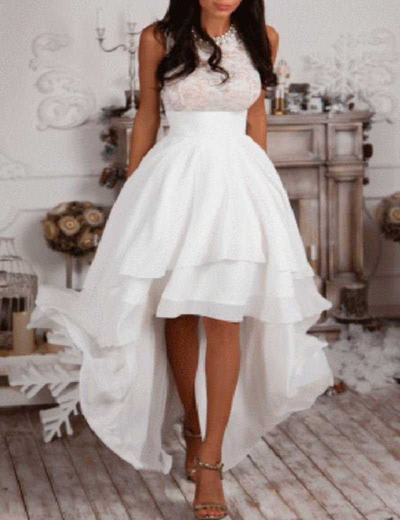 53d38296ed8e3 2016 New High Low White Prom Dresses Halter Neck Top Lace Silvery ...